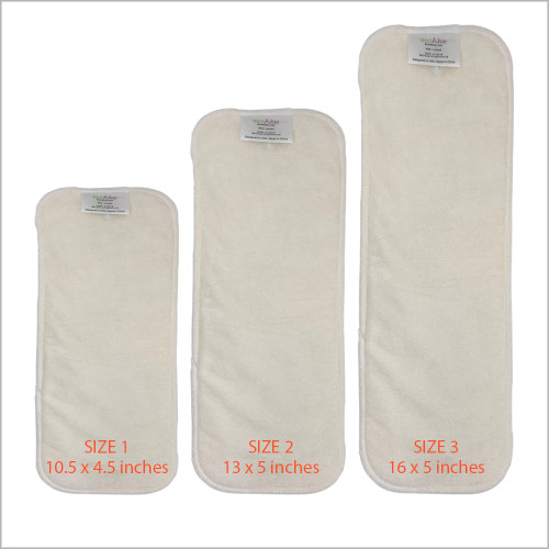 Snap-in Bamboo Booster Inserts Soaker Pads for Cloth Diapers, 3-pack