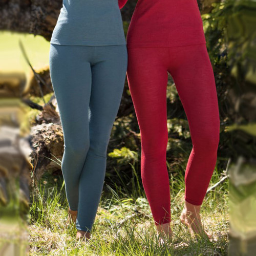 Women's Thermal Base Layer Leggings , 70% Organic Merino Wool 30% Silk