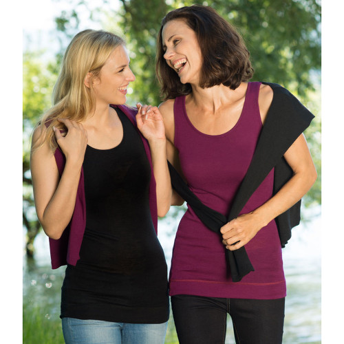 Women's Thermal Hip Length Top, 70% Organic Merino Wool 30% Silk