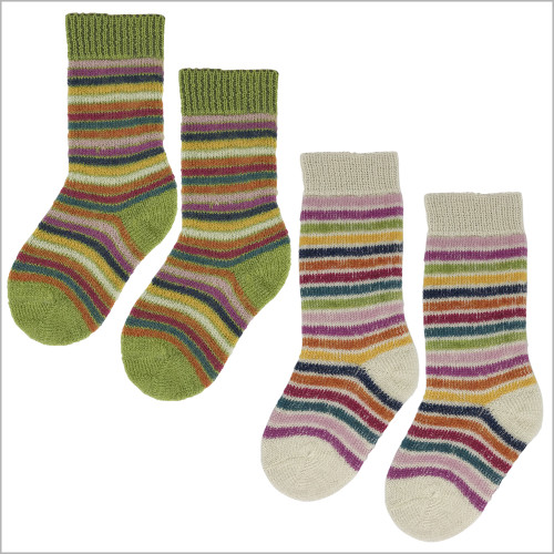 100% Organic Virgin Wool Socks for Girls and Boys, Size Baby – 8 Years, 3 pairs
