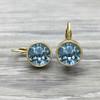 Gold Swarovski Earring in Indian Sapphire