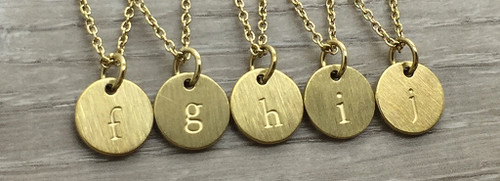 Lowercase Necklace from f to j in Gold
