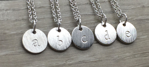 Lowercase Necklace from a to e in Silver