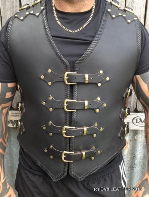 Razorback 4mm Black Buffalo Leather Vest Dv8 Leather