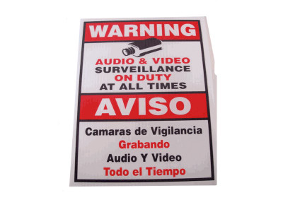 Surveillance Cameras on Duty Sign (18 x 12)