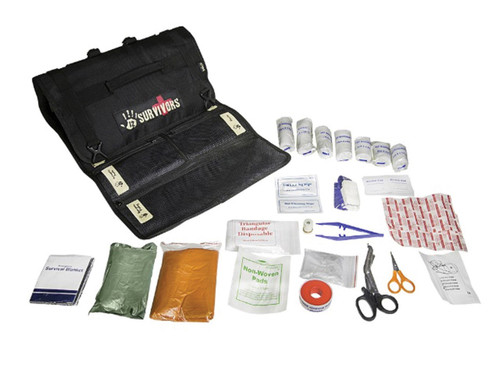 Prepare Yourself for Any Emergency  With its stylish and convenient roll design, the 12 Survivors First Aid Kit is a must-have accessory for any outdoor adventurer. Weather-resistant nylon material protects the gear inside from damage. This kit snaps easily to your pre-existing outside gear, which not only saves space in your bag, but makes emergency medical equipment always at the ready. The pack's zipped, partitioned mesh pockets are easily organized and contain everything you'd need to help heal anything from a cut to a hemorrhage. The pack's do-it-yourself labels make sure that you know where everything is so you don't waste a second during a crisis.    This Pack Includes:      1 Emergency Blanket     1 Poncho     8 PBT Elastic Bandages     4 Sterile Non-Woven Gauze Pads     2 Wet Cleaning Wipes     4 BZK Antiseptic Swabs     4 Alcohol Prep Pads     1 Pair of PVC Gloves     10 Adhesive Band-Aids     1 Breath Mask for Mouth to Mouth     1 Pair of Tweezers     1 Zinc Oxide Adhesive