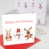 Baby's First Christmas Card Rabbit Design