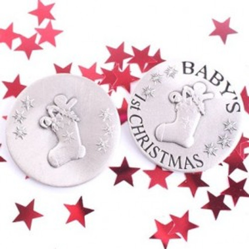 Exclusive Hand Finished Pewter Baby's 1st Christmas Coin - Stocking Design Large