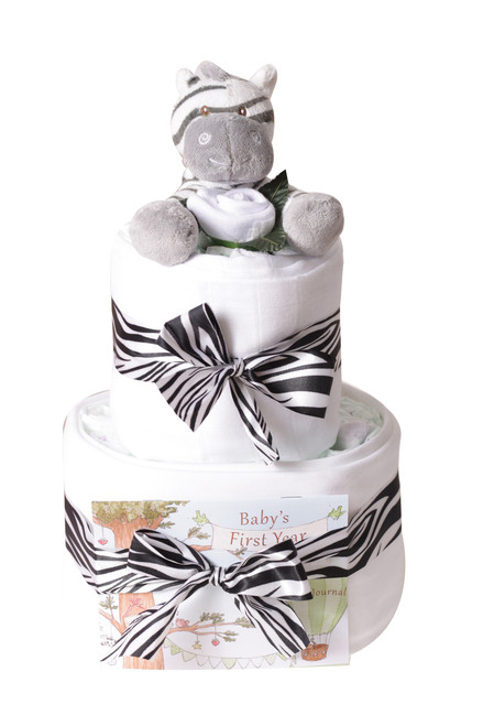 2 Tier Safari Zebra Nappy cake