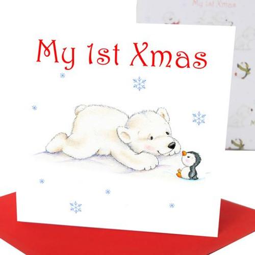 Baby's 1st Xmas Greeting Card Polar Bear
