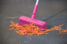 """12"""" Floor Scrub Stiff Bristle w/ 5 ft. Color-Coded Aluminum Handle in Pink"""