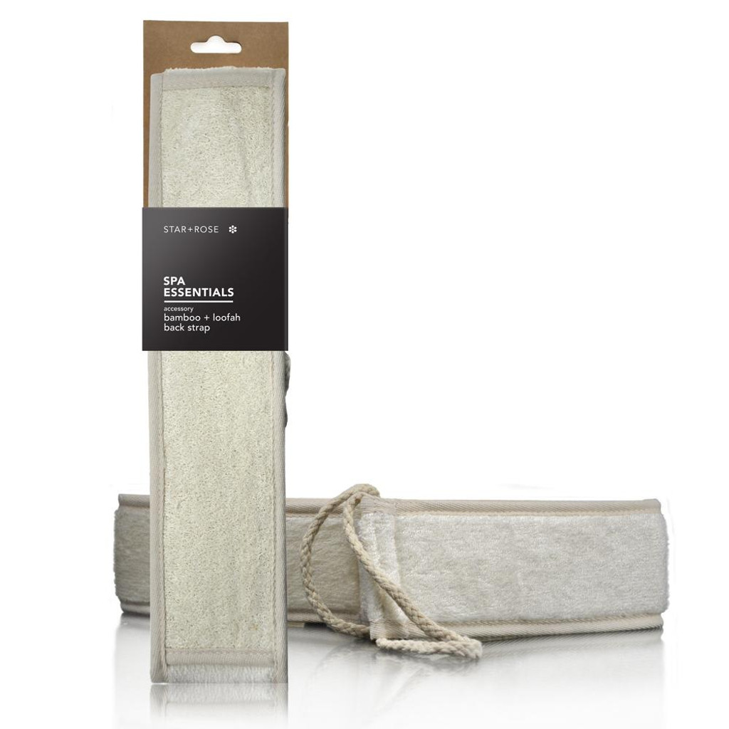 Natural Bamboo & Loofah Exfoliating Back Strap