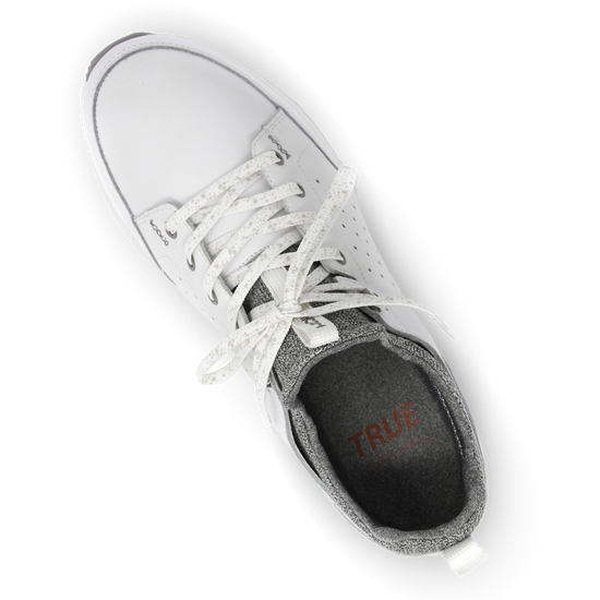 White TRUE Outsider full shoe top down laces tied