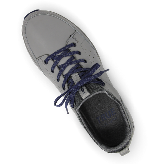 Grey Navy TRUE Outsider full shoe top down laces tied