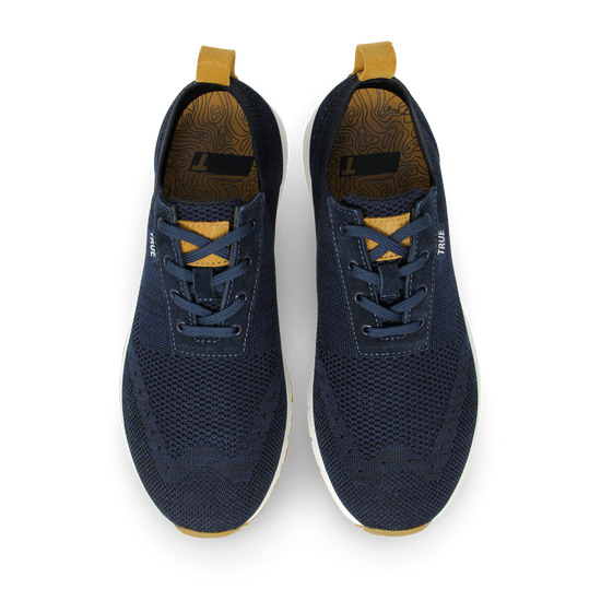 Deep blue TRUE Knit dual full shoe pair top view