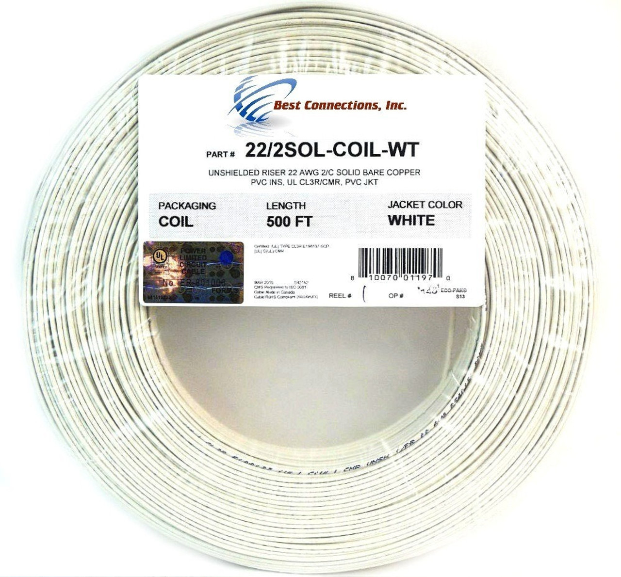 Alarm Wire 22 Gauge 1000\' Copper Security Cable White UL Listed (2 ...