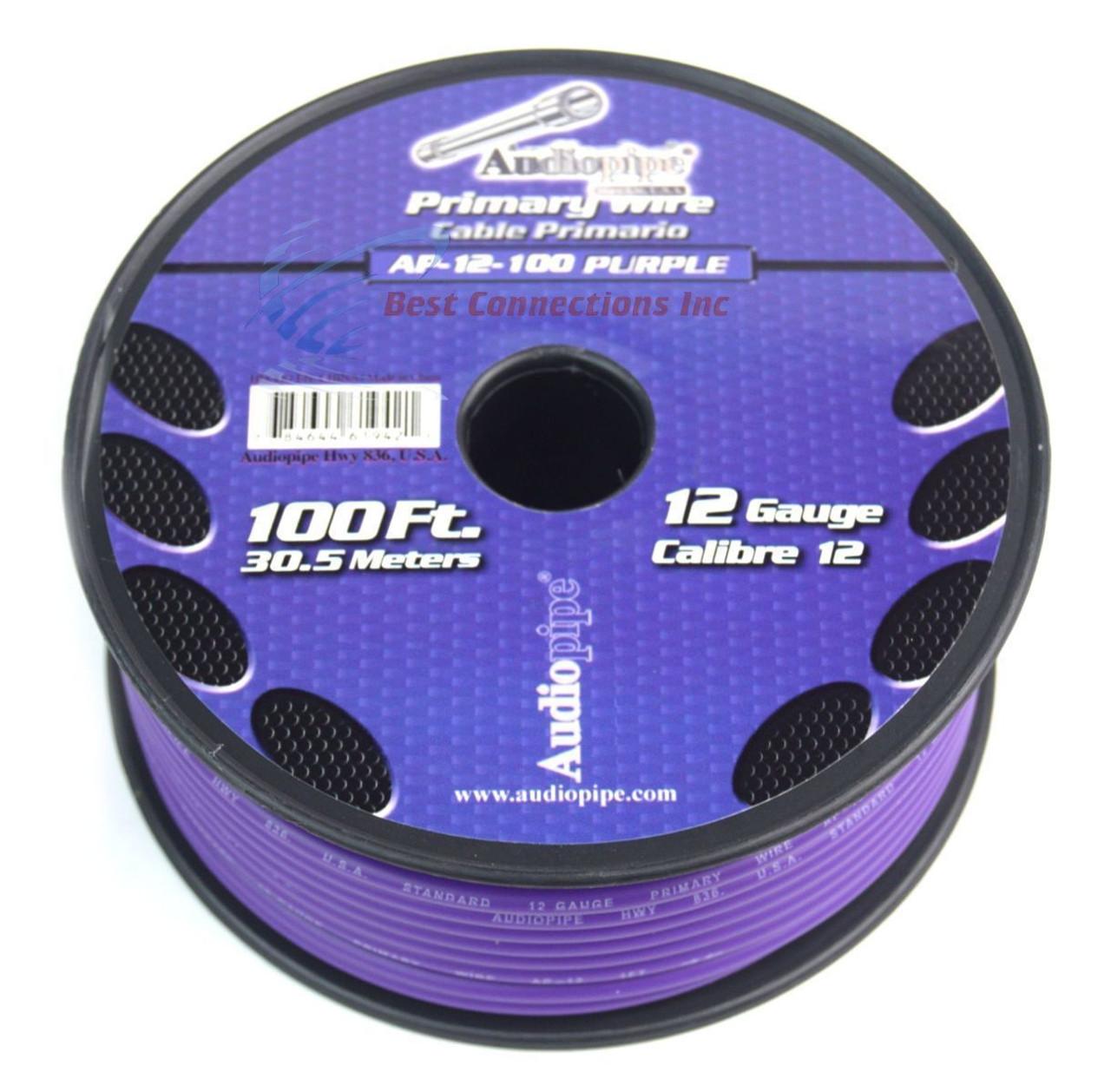 12 GA gauge 100\' Purple Audiopipe Car Audio Home Primary Wire LED ...