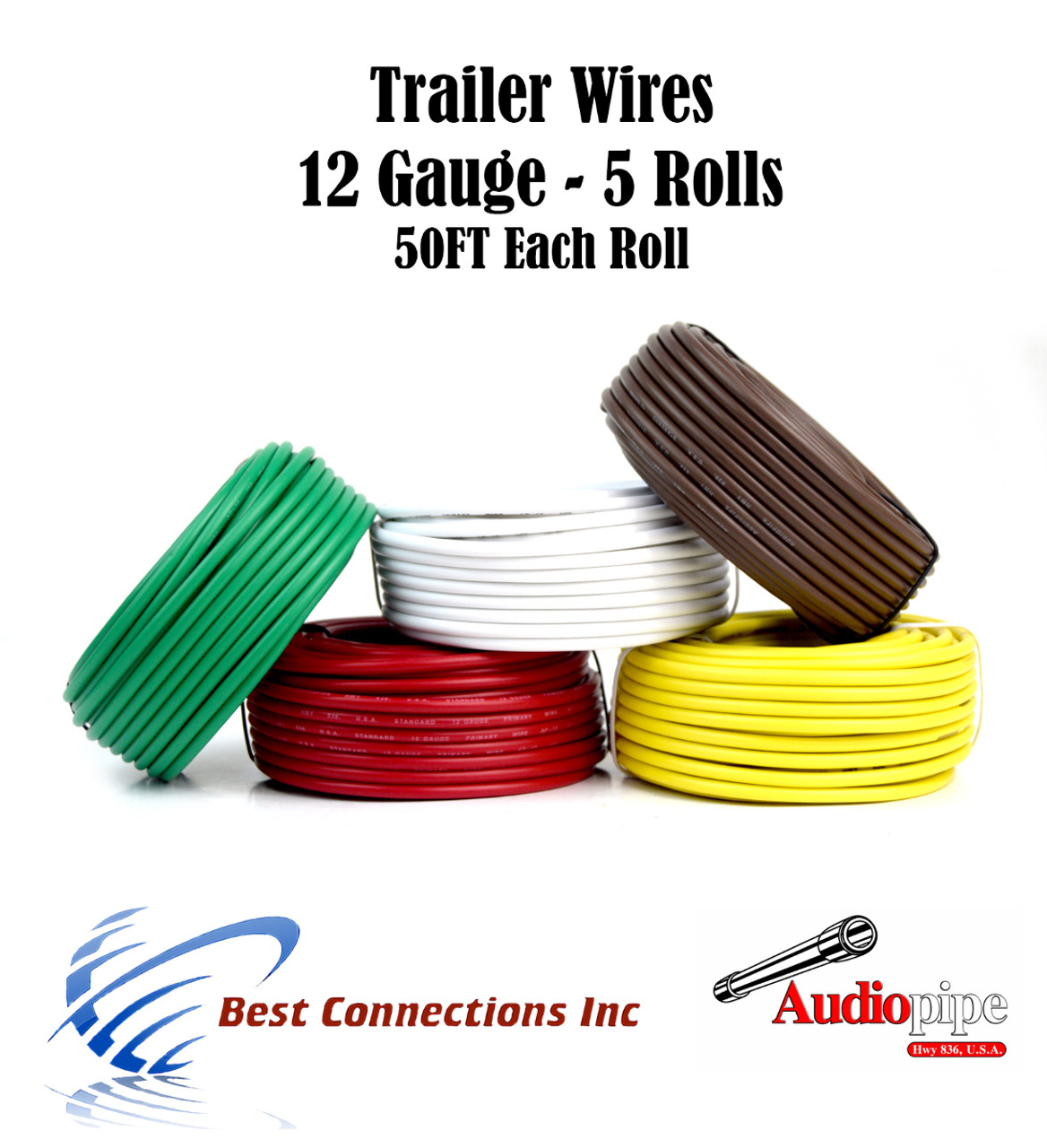 5 Way Trailer Wire Light Cable for Harness 50 FT Each Roll 12 Gauge ...
