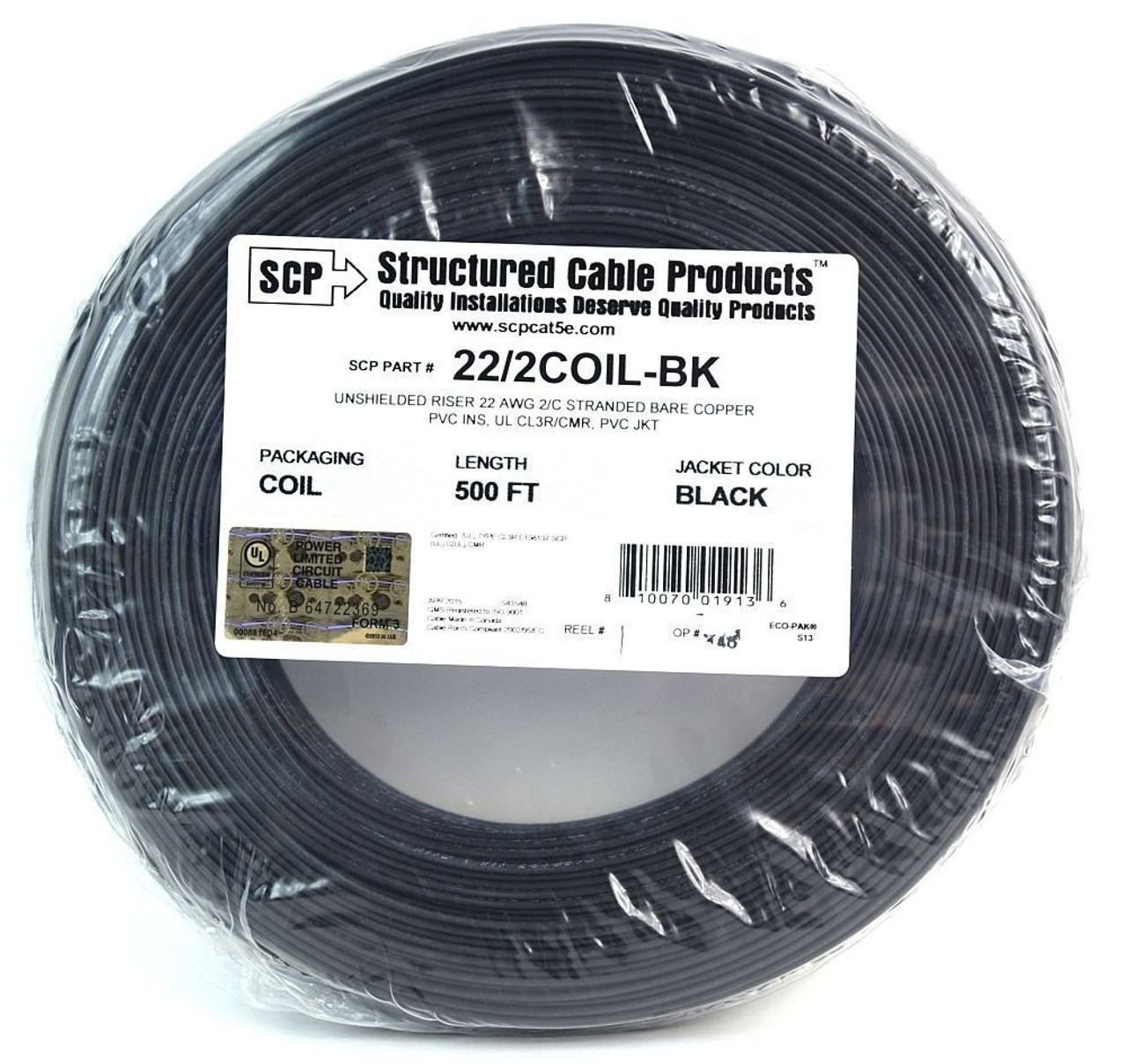 Black 22 GA Gauge AWG 2 Conductor Stranded Copper Alarm Wire ...