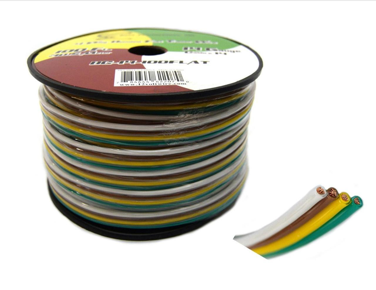 Flat Trailer Light Cable Wiring Harness 100 Feet 14 AWG 4 Wire CCA ...