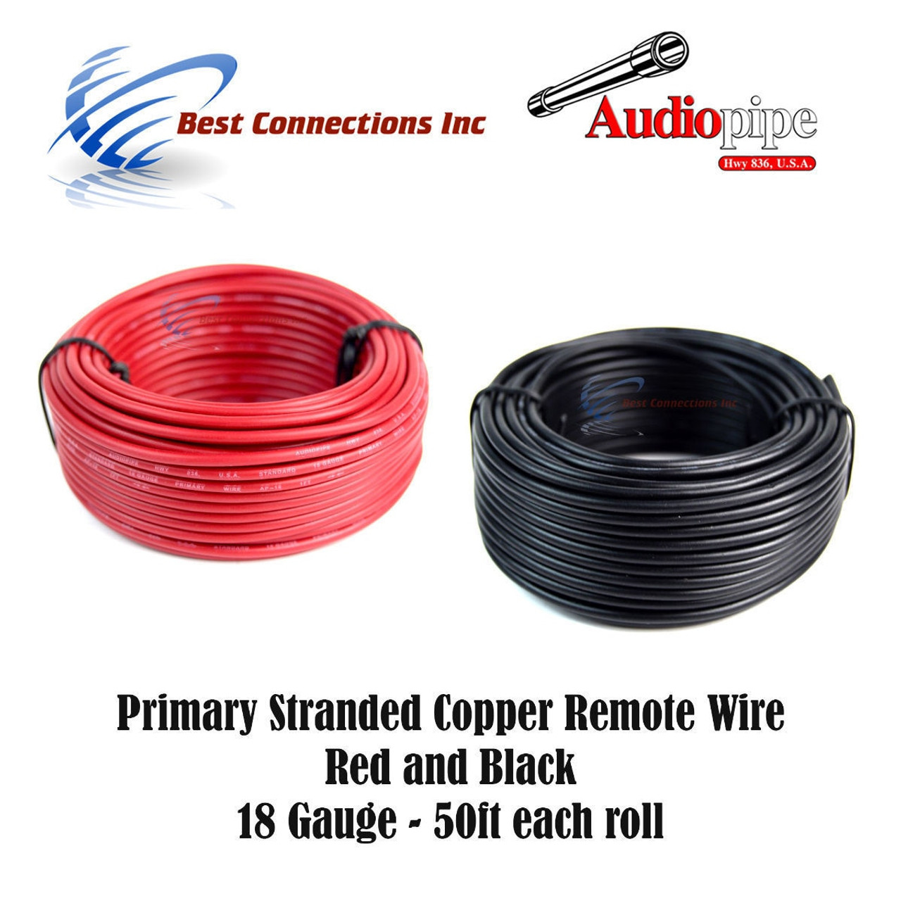 18 GAUGE WIRE RED & BLACK POWER GROUND 50 FT EACH PRIMARY STRANDED ...