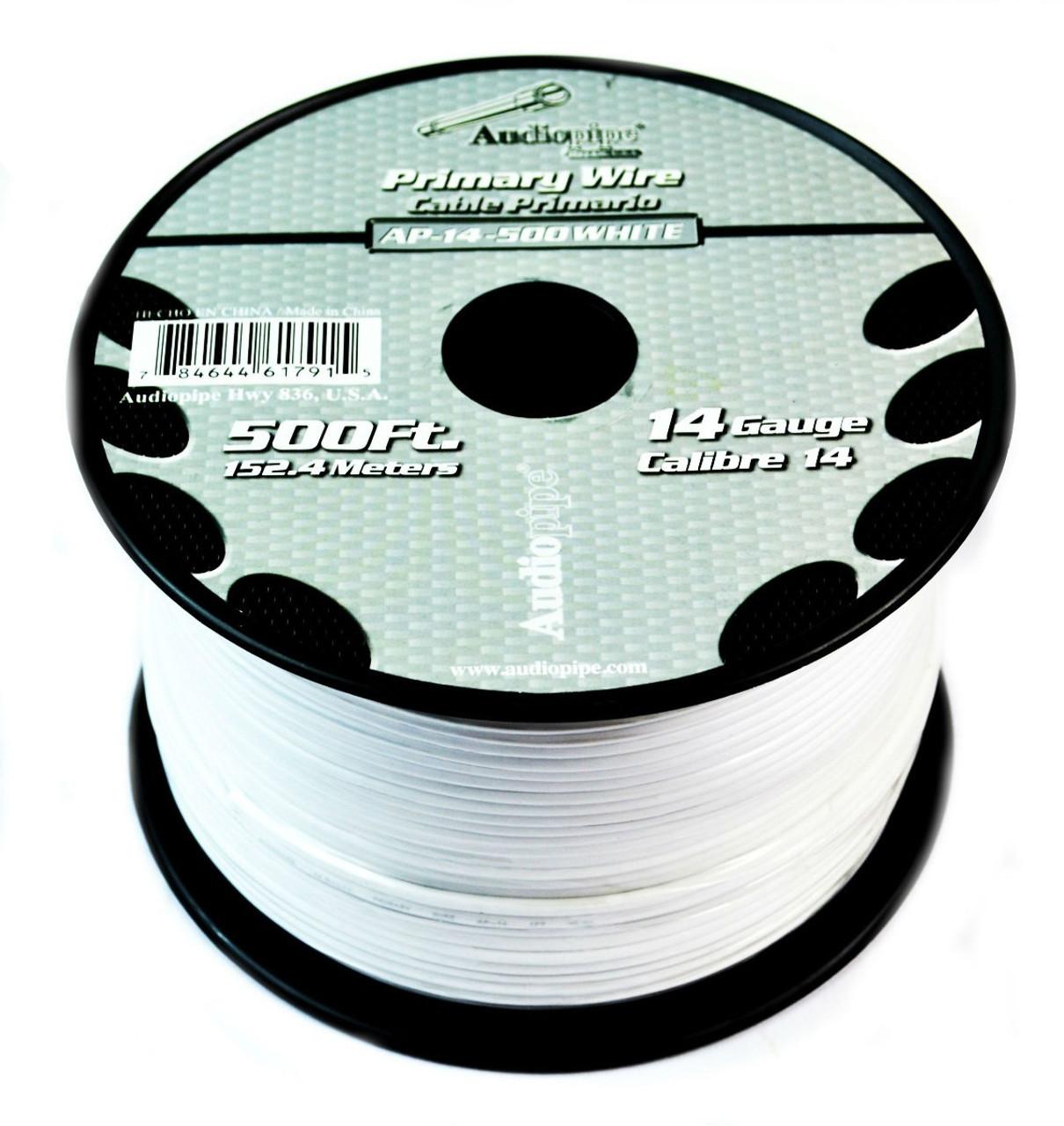 14 GA 500\' White Audiopipe Car Audio Home Primary Remote Wire - Best ...