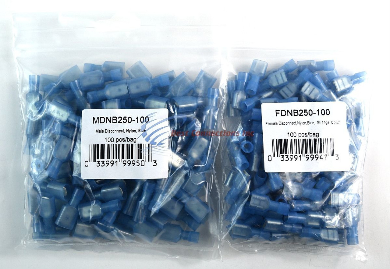 200 PCS 16-14 AWG QUICK DISCONNECTS 100 MALE 100 FEMALE BLUE SPADE ...