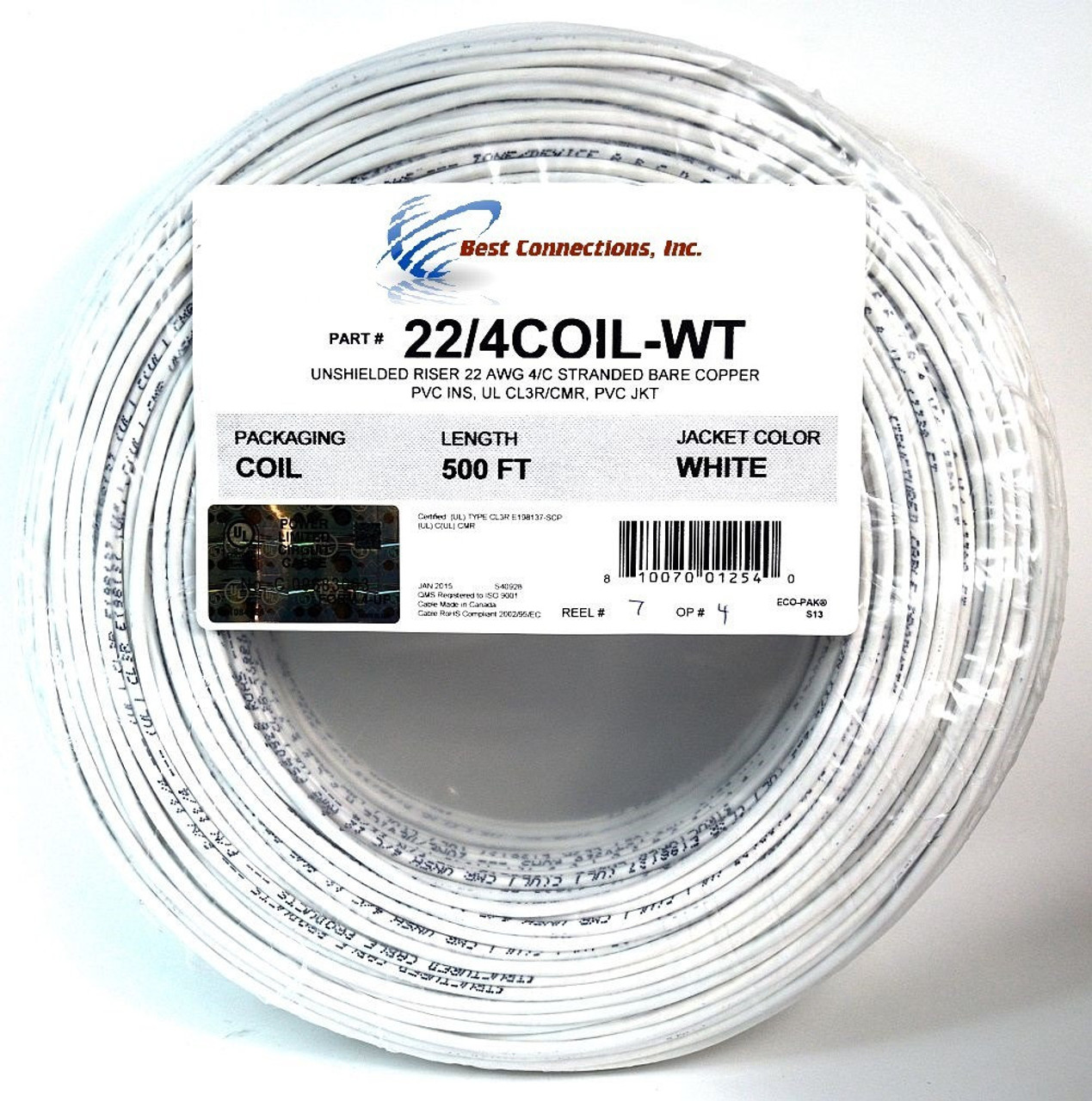 500\' ft 22 Gauge 4 Conductor Stranded Security Alarm COPPER Wire ...