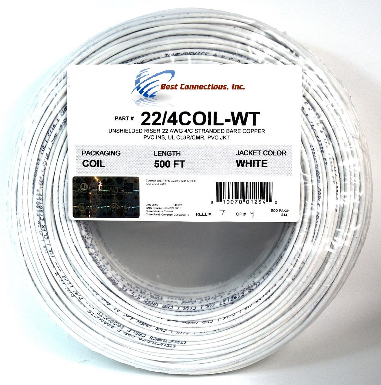 2 Rolls 500\' ft 22 Ga Gauge 4 Conductor Stranded Alarm COPPER Wire ...