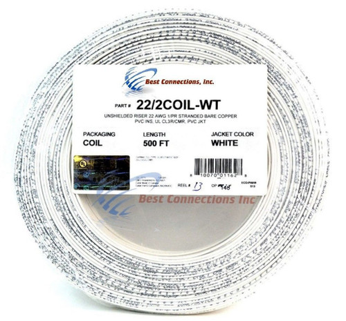 White 22 ga gauge awg 2 conductor stranded copper alarm wire white 22 ga gauge awg 2 conductor stranded copper alarm wire security cable keyboard keysfo Image collections
