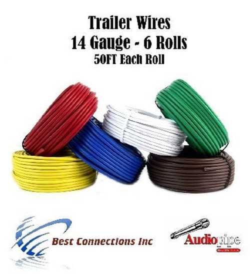 Trailer Light Cable Wiring For Harness 50ft spools 14 Gauge 6 Wire 6 ...