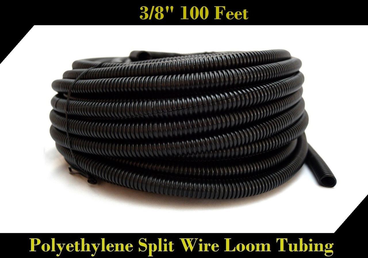 "Black 10/' Feet 1/"" Split Loom Tubing Wire Conduit Hose Cover Auto Home Marine"