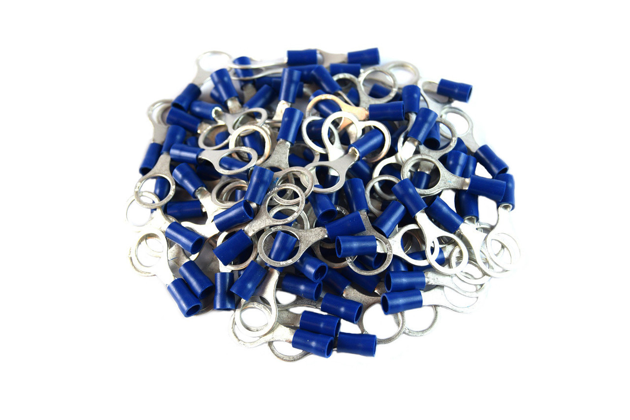 """100 PACK 3//8/"""" 16-14 GAUGE AWG BLUE CAR POWER WIRE RING TERMINALS CONNECTORS"""
