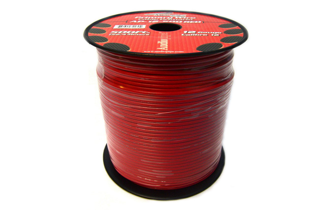 Audiopipe 500 Feet 12 Gauge AWG Red Primary Remote Wire Car Power Cable Home