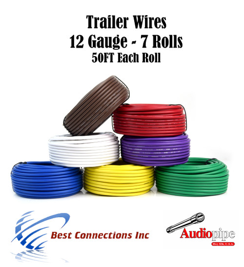 7 Way Trailer Wire Light Cable for Harness 50 FT Each Roll 12 Gauge ...