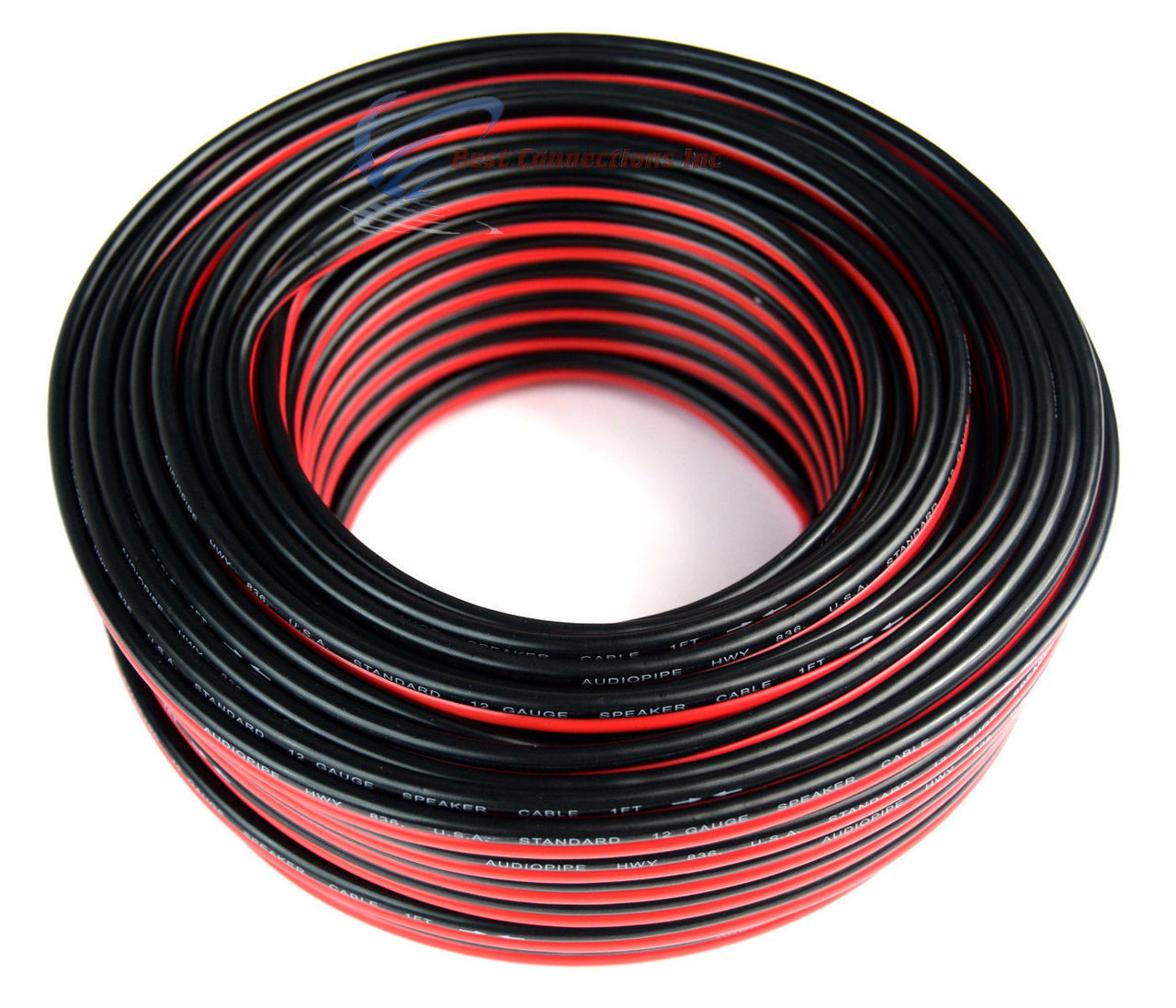 12 Gauge 100 Feet Red Black Stranded 2 Conductor Speaker Wire Cable Copper Mix 784644618950