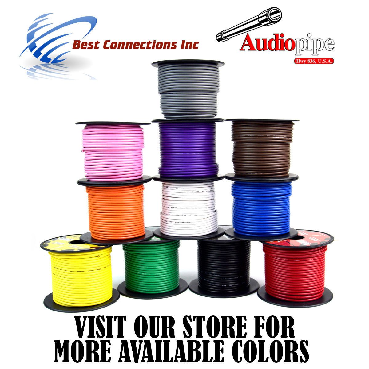 Audiopipe 16 GA 100 feet Brown Car Audio Home Primary Remote Wire LED