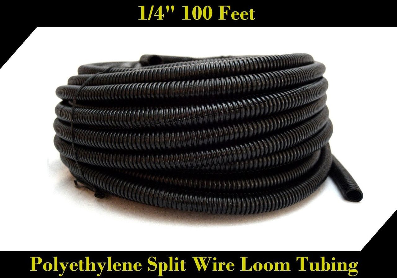 Wire Loom Black 100 Feet 1 4 Quot Split Tubing Hose Cover
