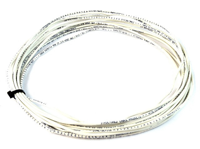 1000/' Feet 22 Gauge AWG 2 Conductor Solid Copper Security Alarm Wire White UL