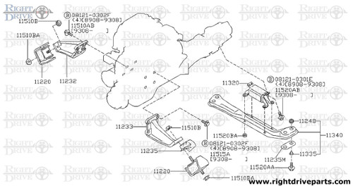 11235M - plate, heat shield - BNR32 Nissan Skyline GT-R