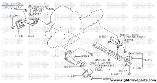 11248 - pad, engine mounting member - BNR32 Nissan Skyline GT-R