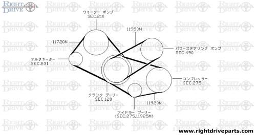 11720N - belt, fan & alternator - BNR32 Nissan Skyline GT-R