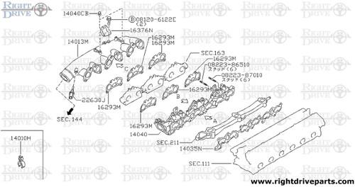 14035N - gasket, intake manifold B - BNR32 Nissan Skyline GT-R