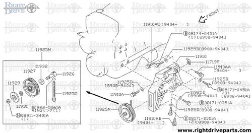 11925M - pulley assembly, idler compressor - BNR32 Nissan Skyline GT-R