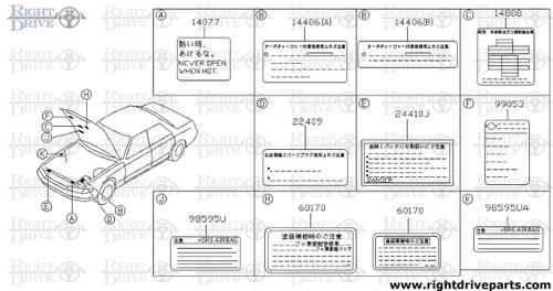 14405 - tag, caution turbo - BNR32 Nissan Skyline GT-R