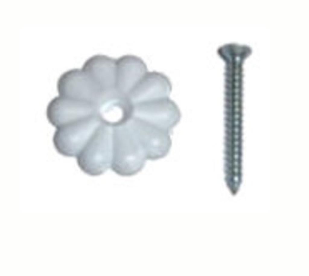 White Rosette Washer with Screw Pack