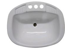 "20"" x 16"" Almond Round Plastic Lavatory Sink"