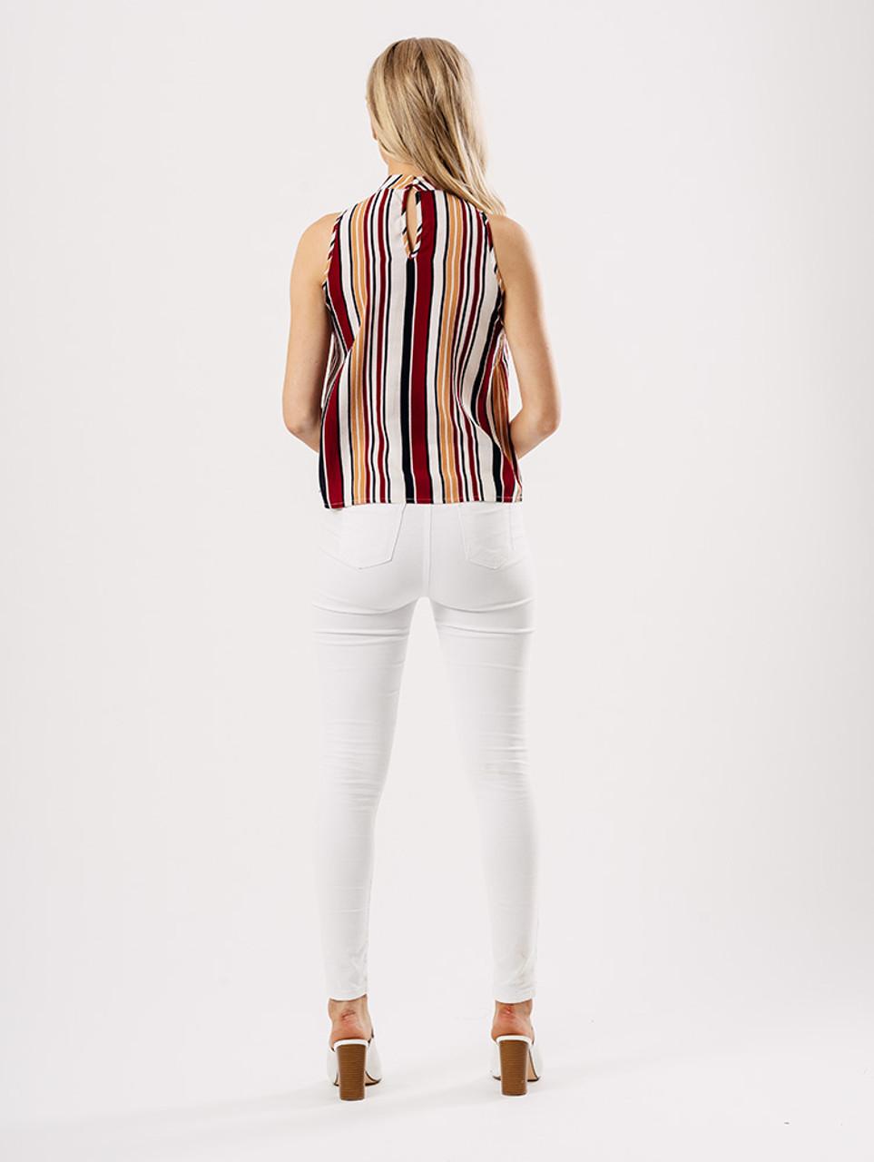 Multi Stripe Sleeveless Shell Top