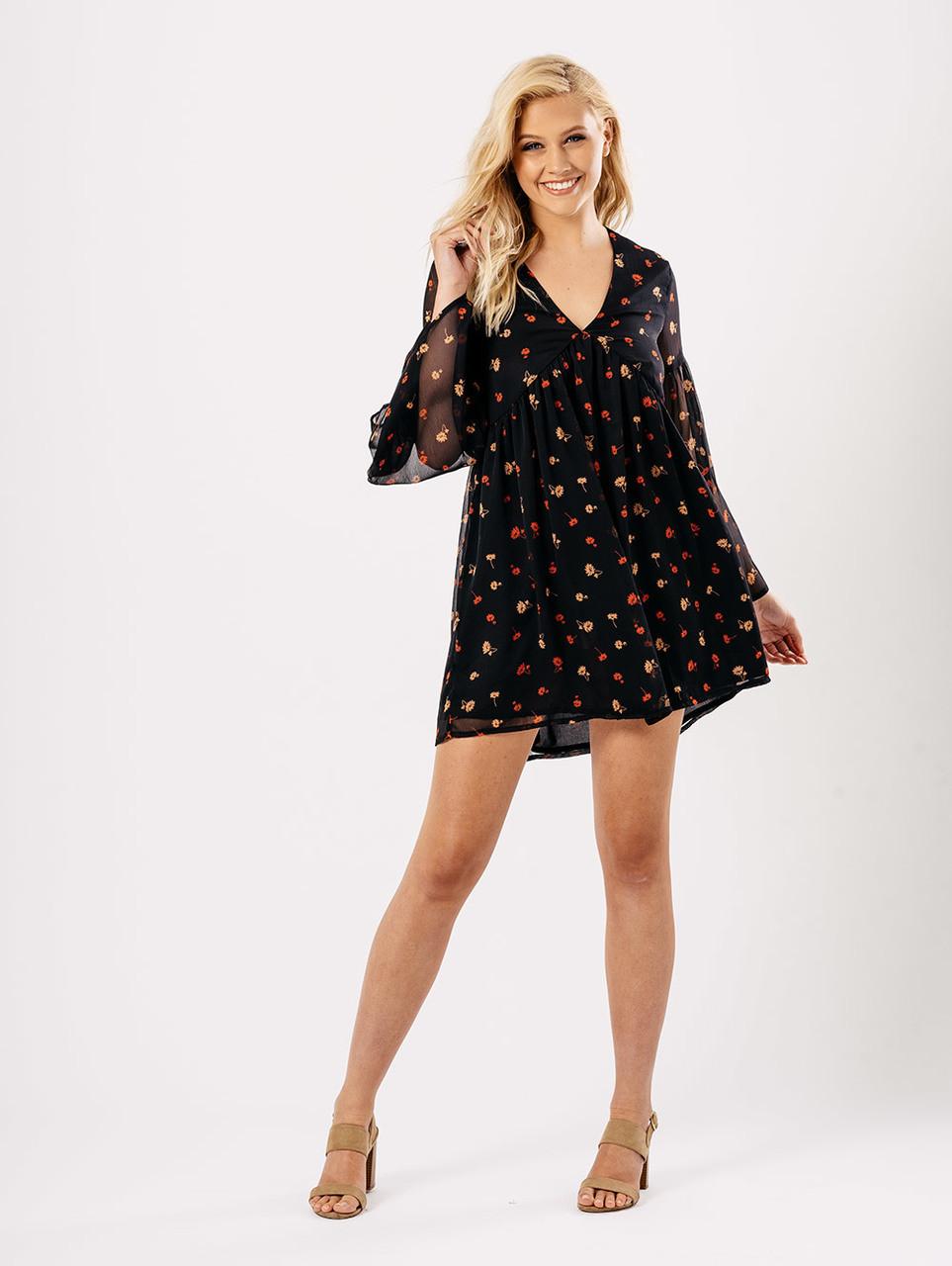 Black Multi Floral Print Floaty Dress