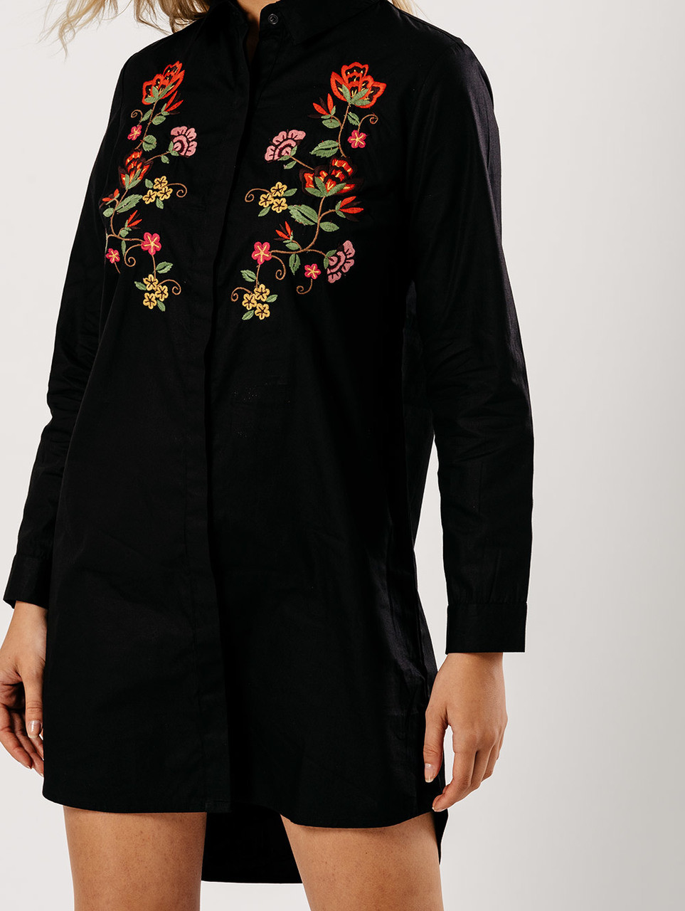 Black Embroidered Shirt Dress